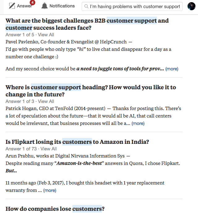 Quora search example.