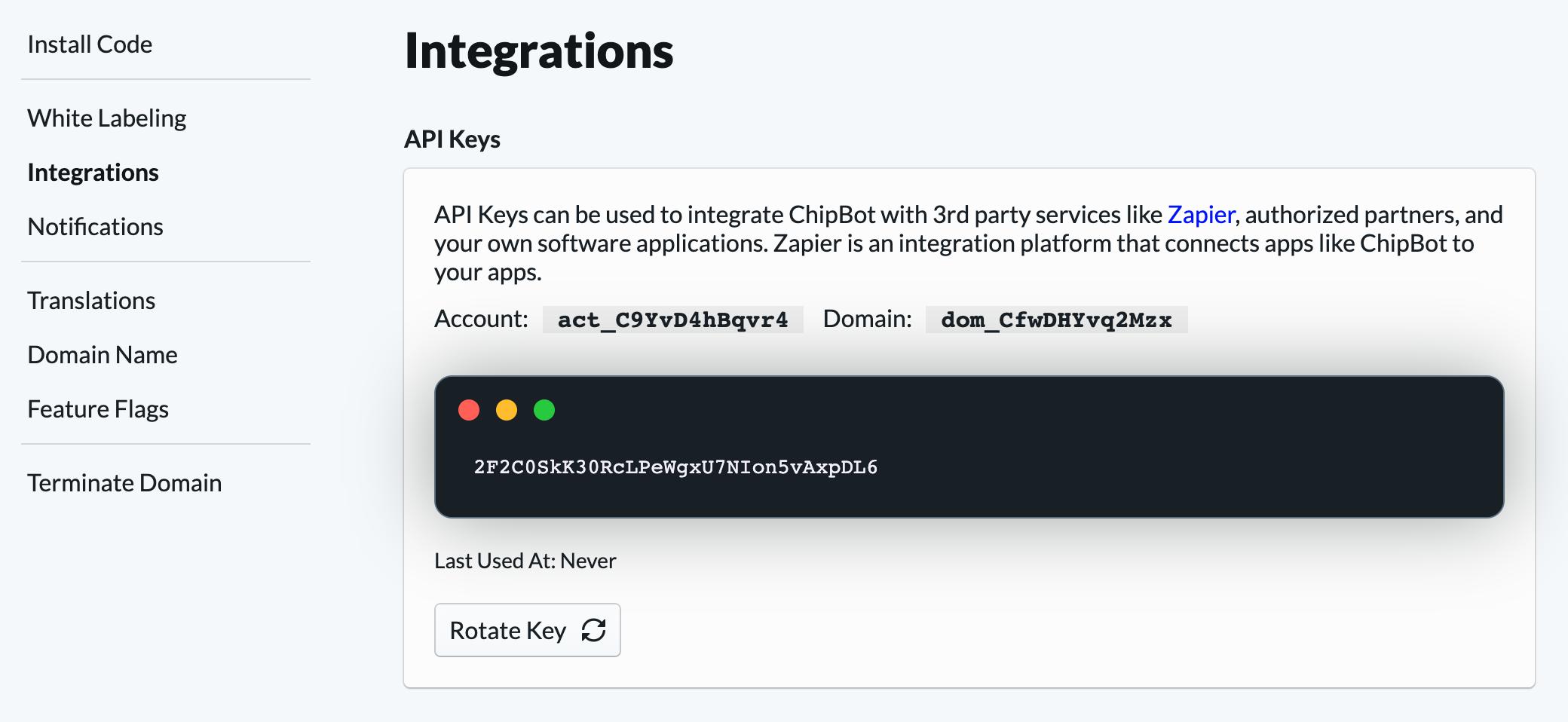 API token retrieval example